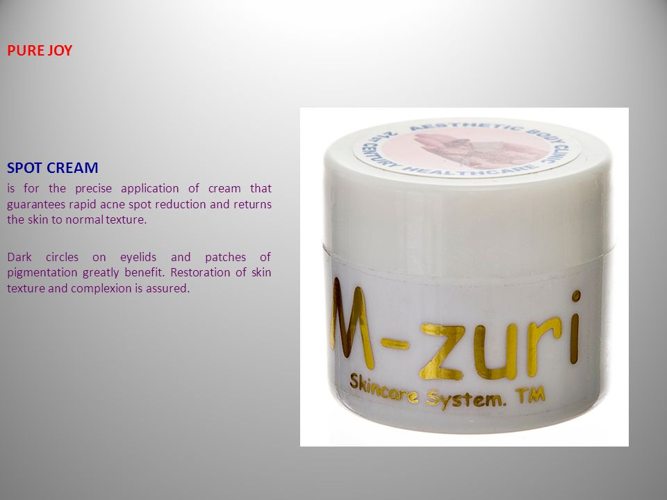 M-zuri M-zuri PURE JOY SPOT CREAM is for the precise application of cream that guarantees rapid acne spot reduction and returns the skin to normal texture.