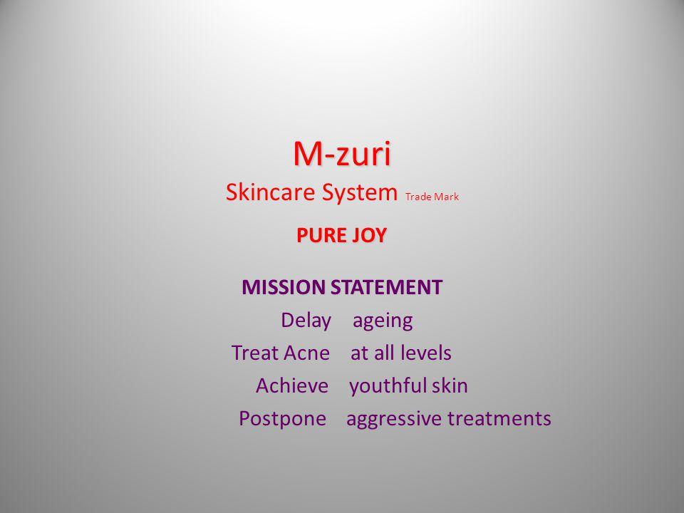 M-zuri PURE JOY M-zuri Skincare System Trade Mark PURE JOY MISSION STATEMENT Delay ageing Treat Acne at all levels Achieve youthful skin Postpone aggressive treatments
