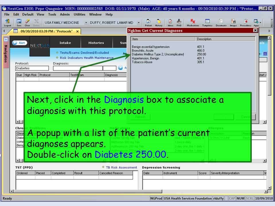 Next, click in the Diagnosis box to associate a diagnosis with this protocol.