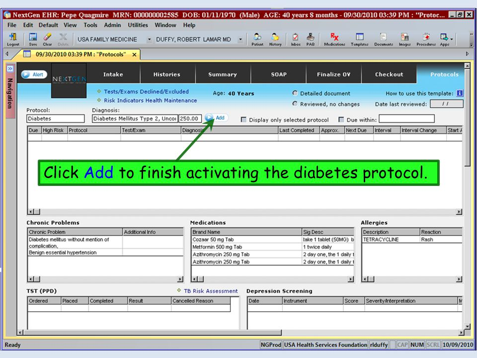 Click Add to finish activating the diabetes protocol.