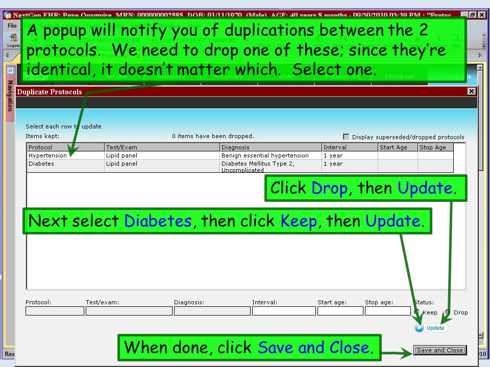 A popup will notify you of duplications between the 2 protocols.