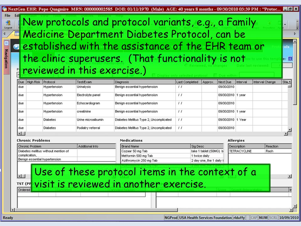 New protocols and protocol variants, e.g., a Family Medicine Department Diabetes Protocol, can be established with the assistance of the EHR team or the clinic superusers.