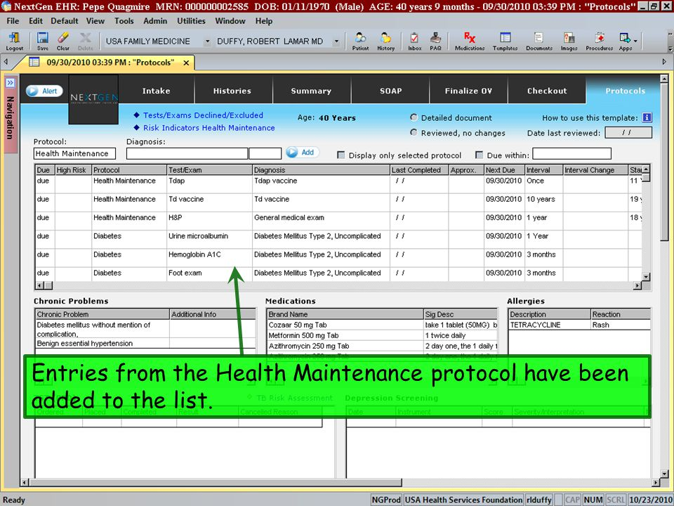 Entries from the Health Maintenance protocol have been added to the list.