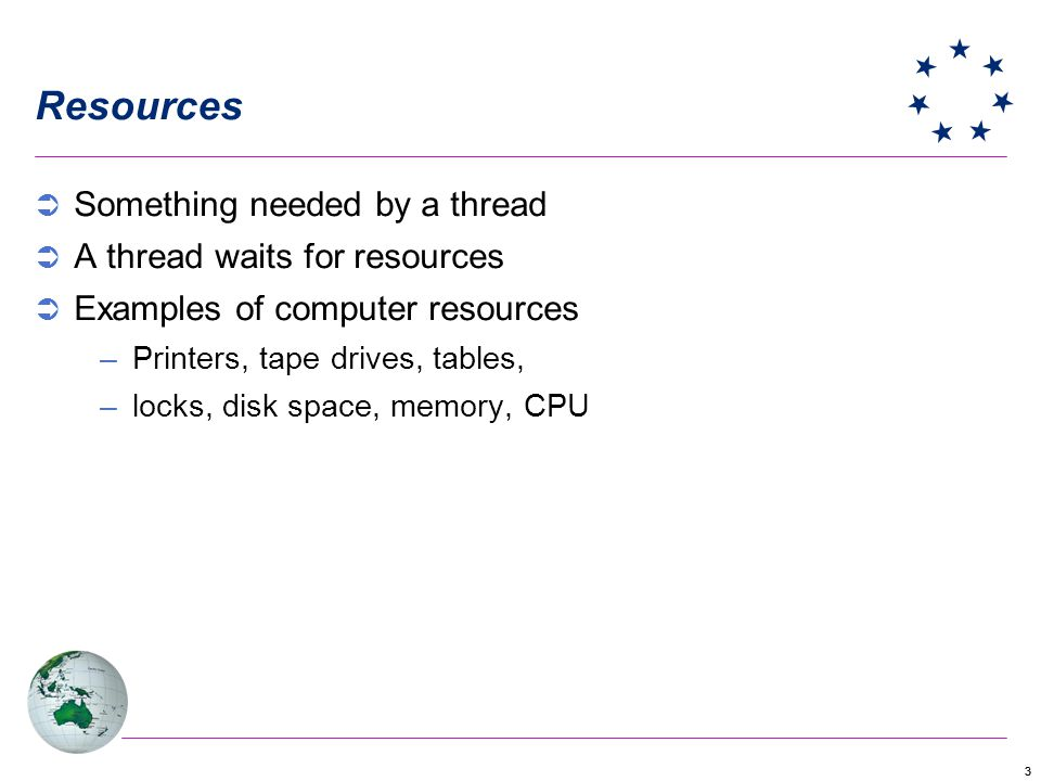 33 Resources Something needed by a thread A thread waits for resources Examples of computer resources –Printers, tape drives, tables, –locks, disk space, memory, CPU