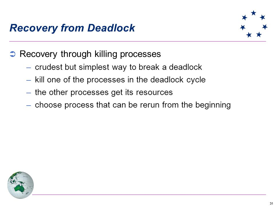 31 Recovery from Deadlock Recovery through killing processes –crudest but simplest way to break a deadlock –kill one of the processes in the deadlock cycle –the other processes get its resources –choose process that can be rerun from the beginning