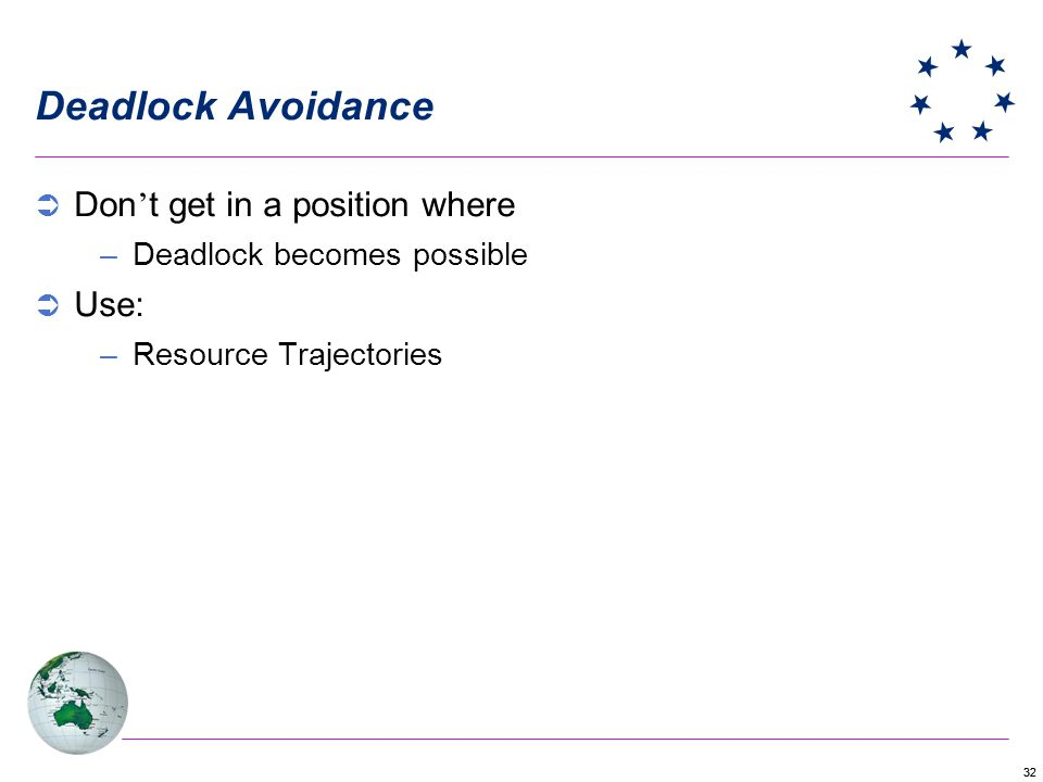 32 Deadlock Avoidance Don t get in a position where –Deadlock becomes possible Use: –Resource Trajectories