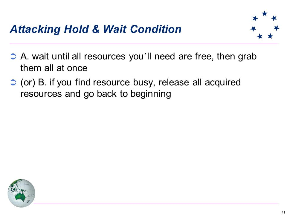 41 Attacking Hold & Wait Condition A.