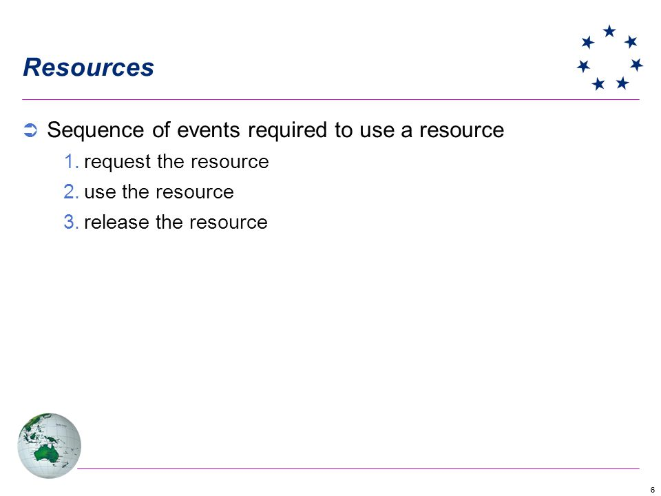 66 Resources Sequence of events required to use a resource 1.request the resource 2.use the resource 3.release the resource