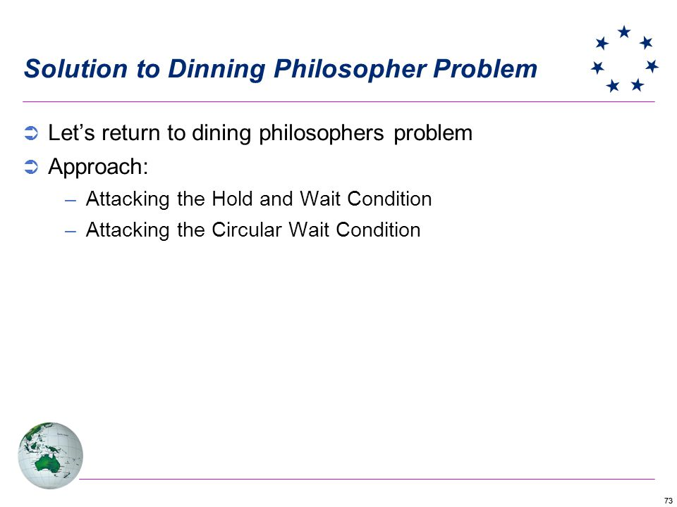 73 Lets return to dining philosophers problem Approach: –Attacking the Hold and Wait Condition –Attacking the Circular Wait Condition Solution to Dinning Philosopher Problem