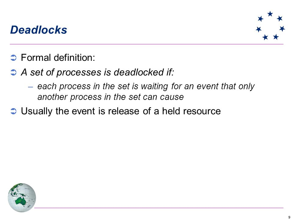 10 Deadlocks In a deadlock, none of the processes can … –run –release resources –be awakened