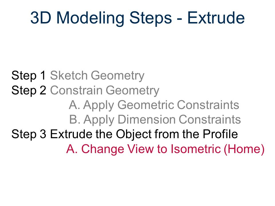 3D Modeling Steps - Extrude Step 1 Sketch Geometry Step 2 Constrain Geometry A. Apply Geometric Constraints B. Apply Dimension Constraints Step 3 Extr
