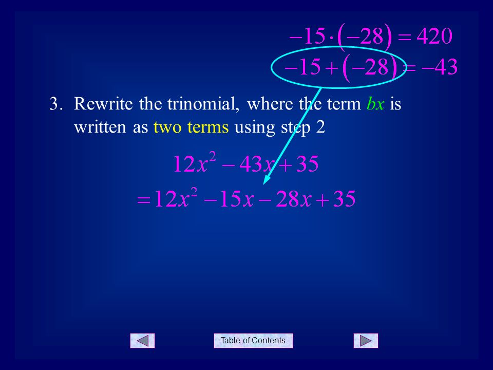 Table of Contents 3.Rewrite the trinomial, where the term bx is written as two terms using step 2