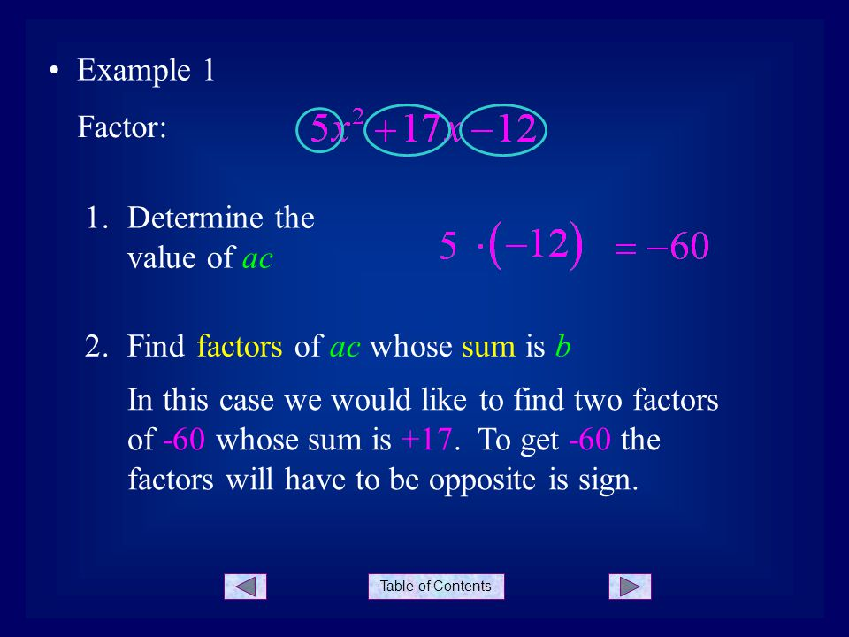 Table of Contents Example 1 Factor: 1.Determine the value of ac 2.Find factors of ac whose sum is b In this case we would like to find two factors of