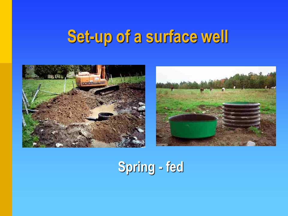 Set-up of a surface well Spring - fed