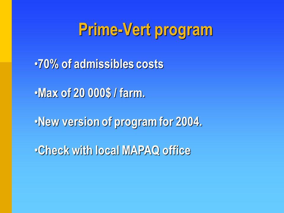 70% of admissibles costs 70% of admissibles costs Max of 20 000$ / farm.