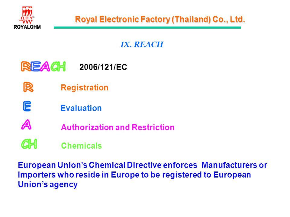 Royal Electronic Factory (Thailand) Co., Ltd. IX. REACH Registration Evaluation Authorization and Restriction Chemicals 2006/121/EC European Unions Ch