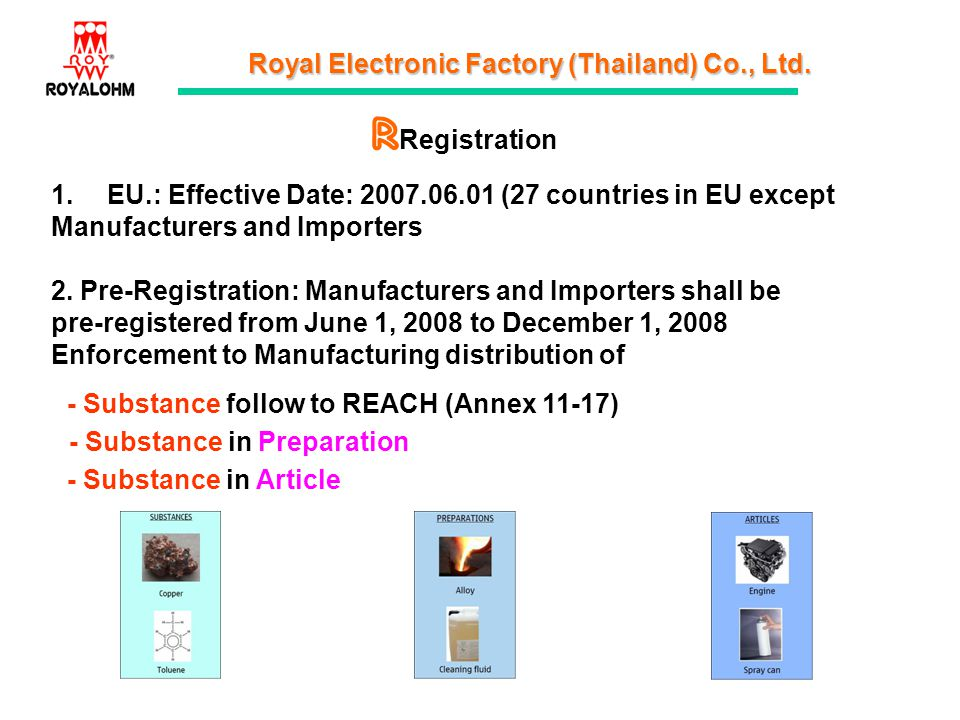 Royal Electronic Factory (Thailand) Co., Ltd. Registration 1.EU.: Effective Date: 2007.06.01 (27 countries in EU except Manufacturers and Importers 2.