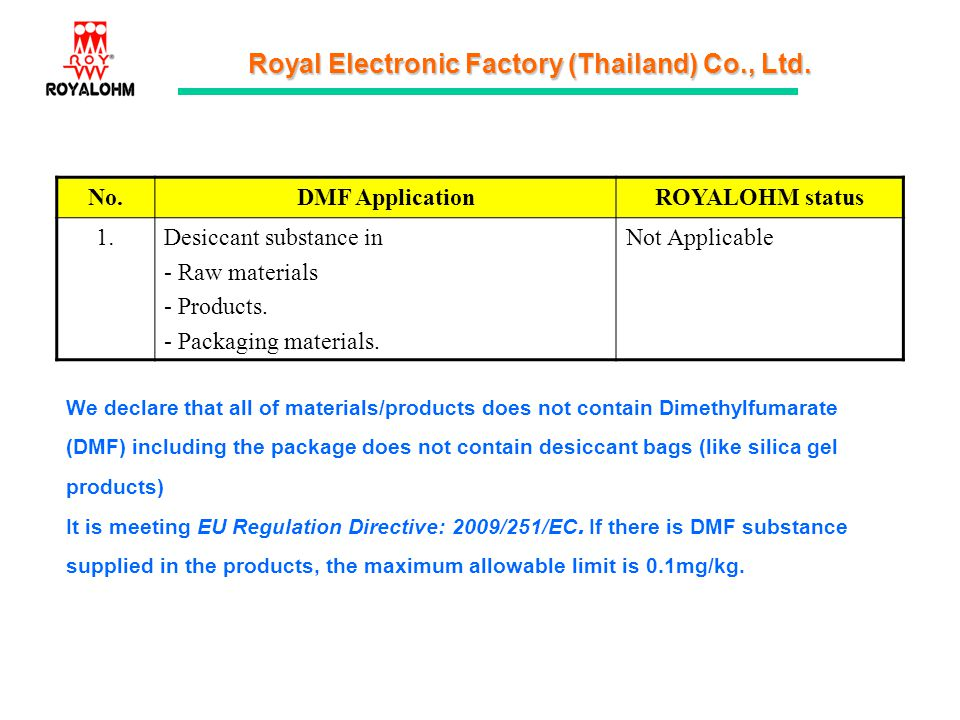 Royal Electronic Factory (Thailand) Co., Ltd. No.DMF ApplicationROYALOHM status 1.1.Desiccant substance in - Raw materials - Products. - Packaging mat