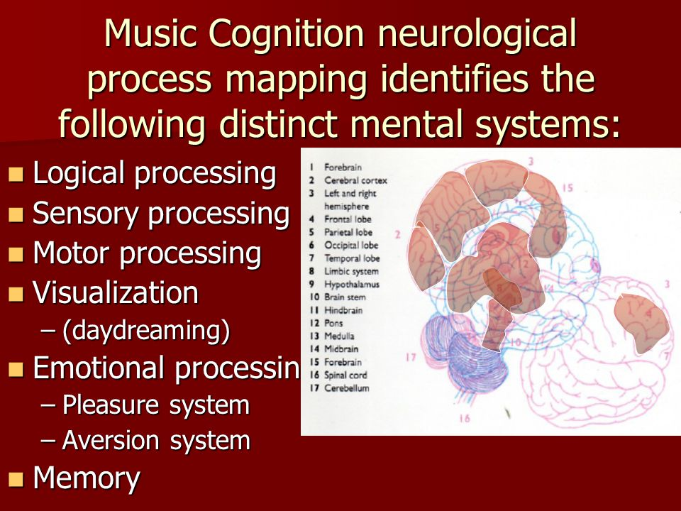 Music Cognition neurological process mapping identifies the following distinct mental systems: Logical processing Logical processing Sensory processing Sensory processing Motor processing Motor processing Visualization Visualization –(daydreaming) Emotional processing Emotional processing –Pleasure system –Aversion system Memory Memory