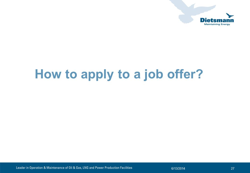 How to apply to a job offer? 6/13/201427