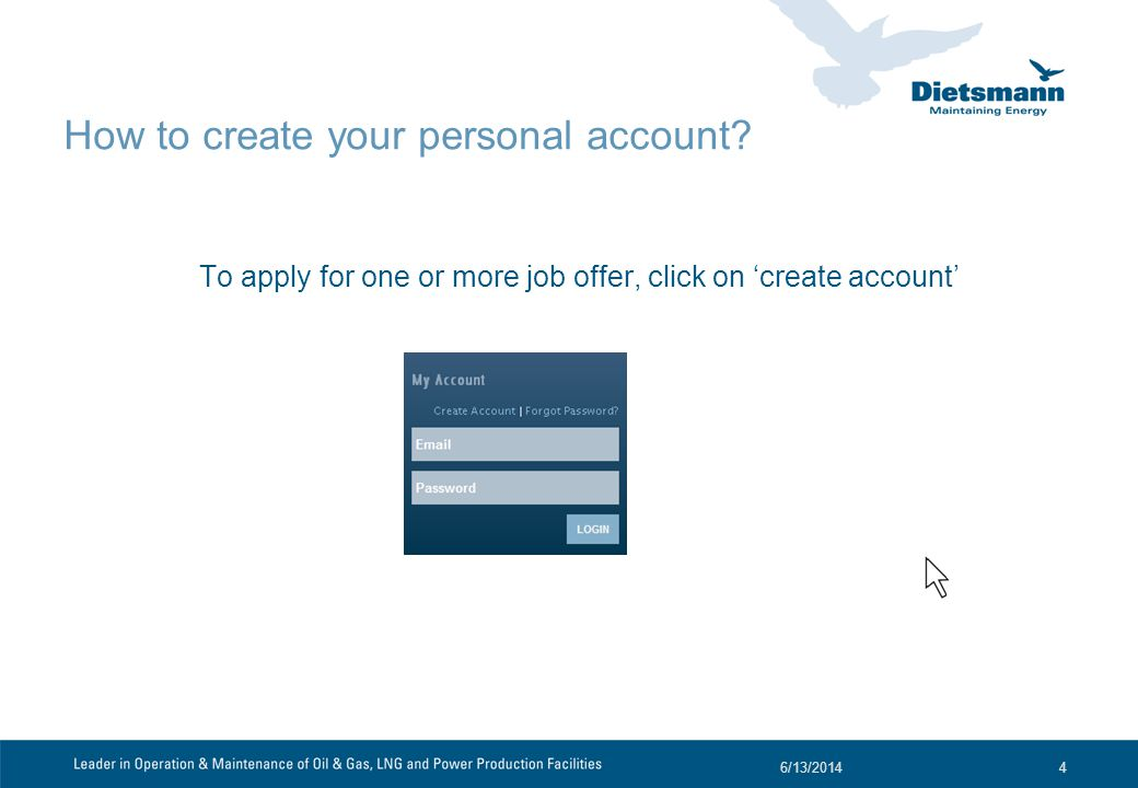 How to create your personal account.