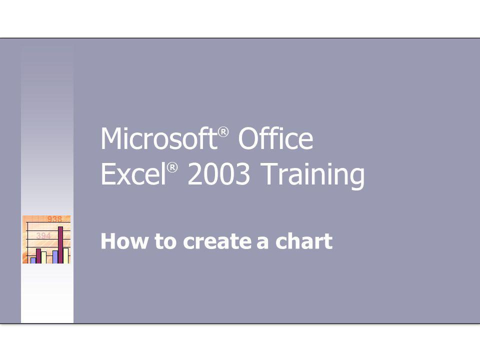 Microsoft ® Office Excel ® 2003 Training How to create a chart