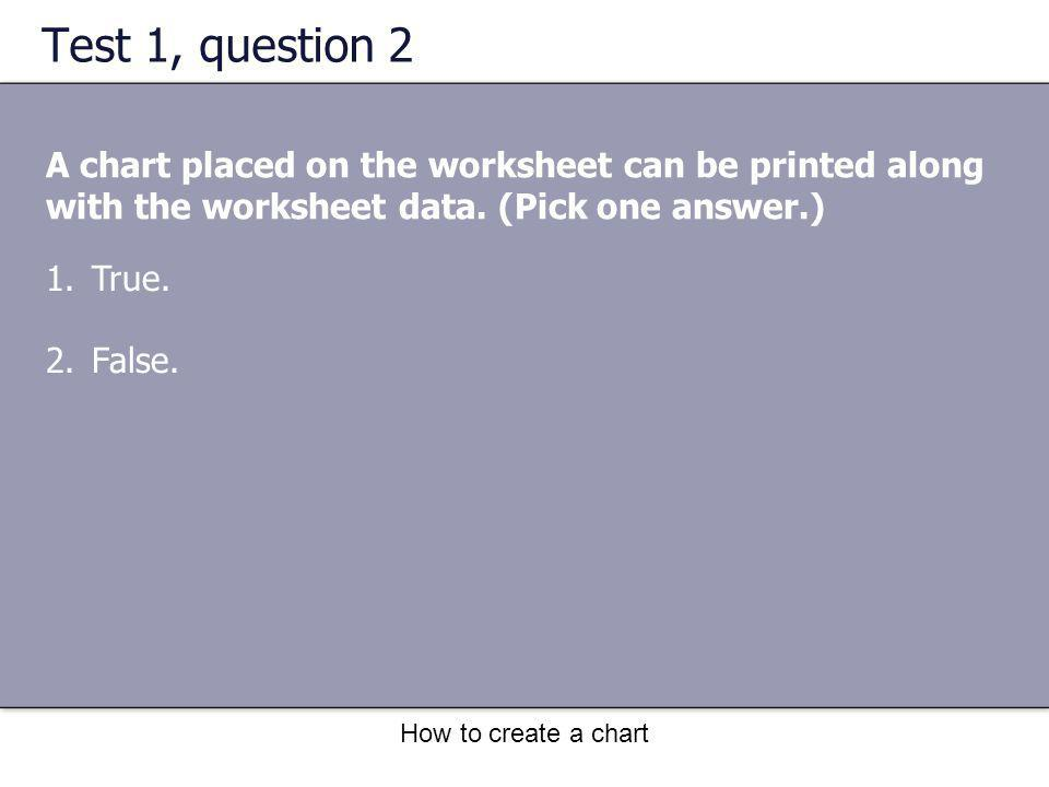 How to create a chart Test 1, question 2 A chart placed on the worksheet can be printed along with the worksheet data. (Pick one answer.) 1.True. 2.Fa