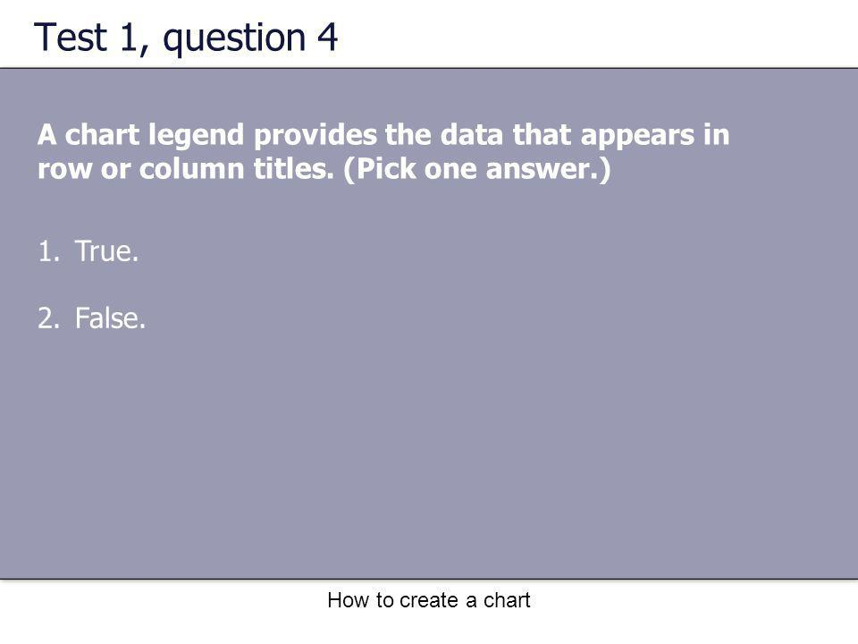 How to create a chart Test 1, question 4 A chart legend provides the data that appears in row or column titles. (Pick one answer.) 1.True. 2.False.