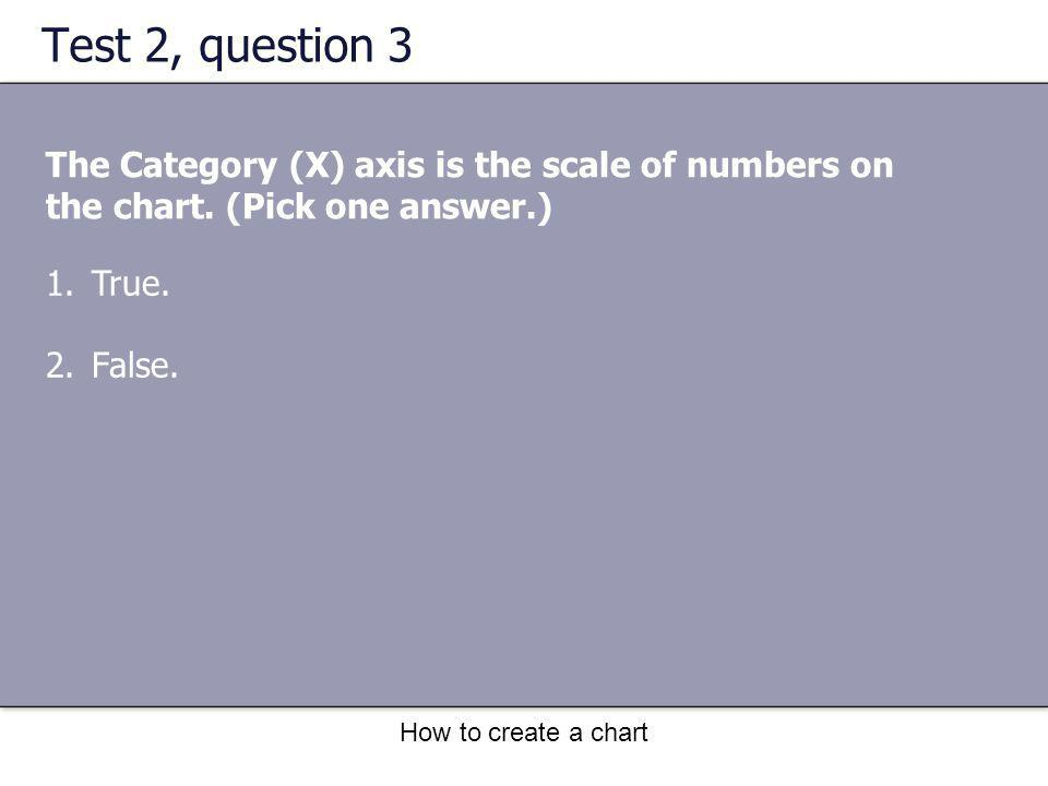 How to create a chart Test 2, question 3 The Category (X) axis is the scale of numbers on the chart. (Pick one answer.) 1.True. 2.False.