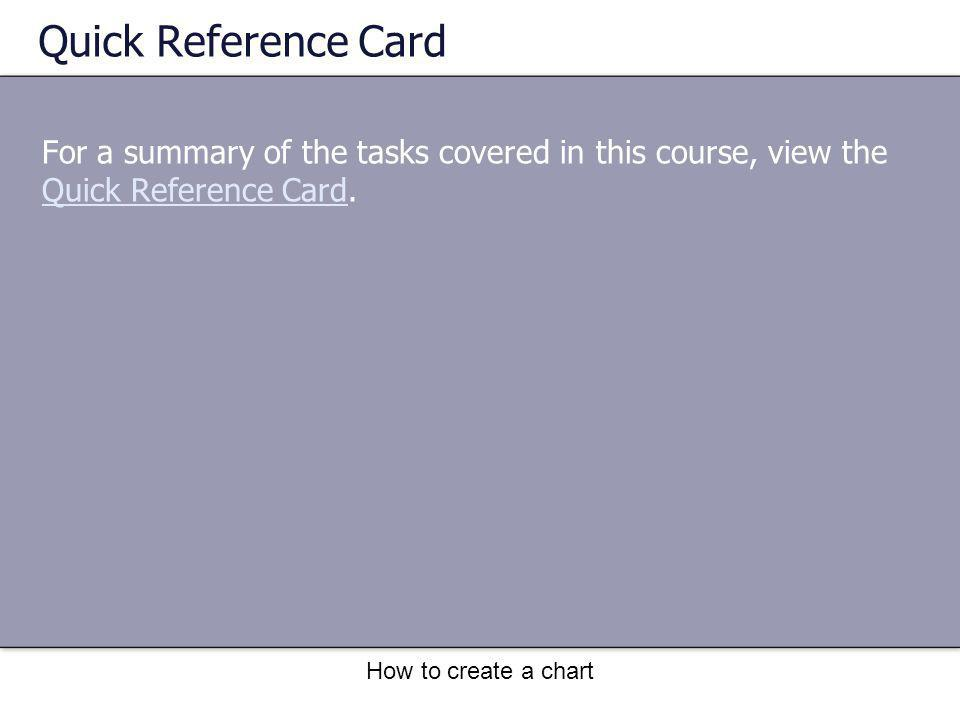 How to create a chart Quick Reference Card For a summary of the tasks covered in this course, view the Quick Reference Card. Quick Reference Card