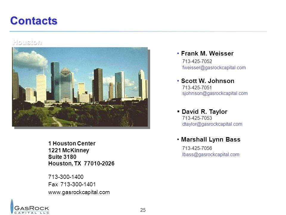 25 Contacts 1 Houston Center 1221 McKinney Suite 3180 Houston, TX 77010-2026 713-300-1400 Fax 713-300-1401 www.gasrockcapital.com Frank M.