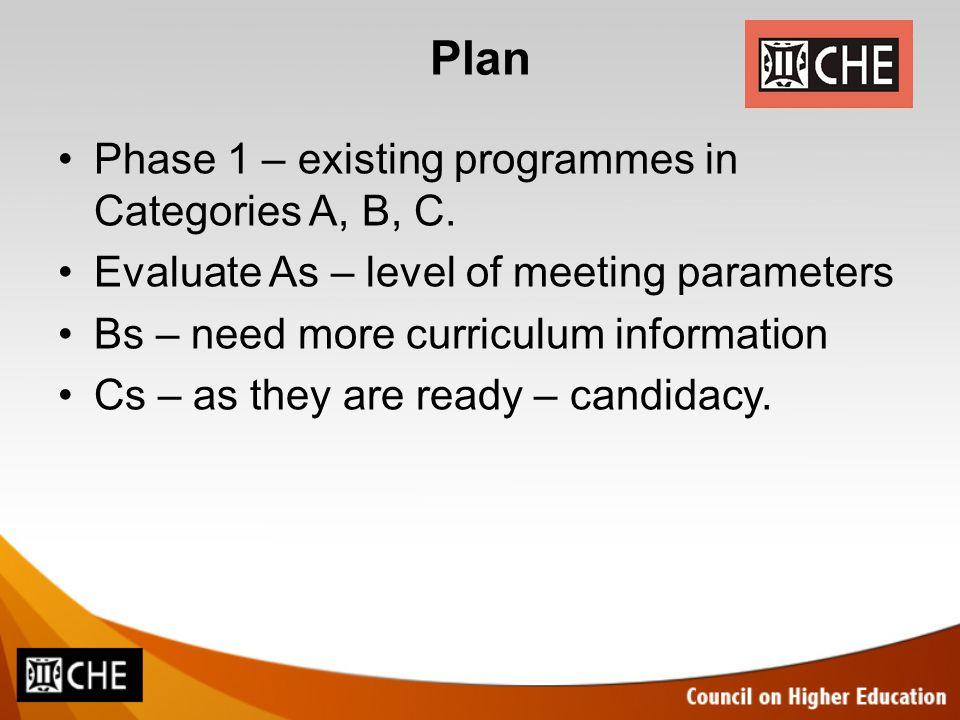 Plan Phase 1 – existing programmes in Categories A, B, C. Evaluate As – level of meeting parameters Bs – need more curriculum information Cs – as they