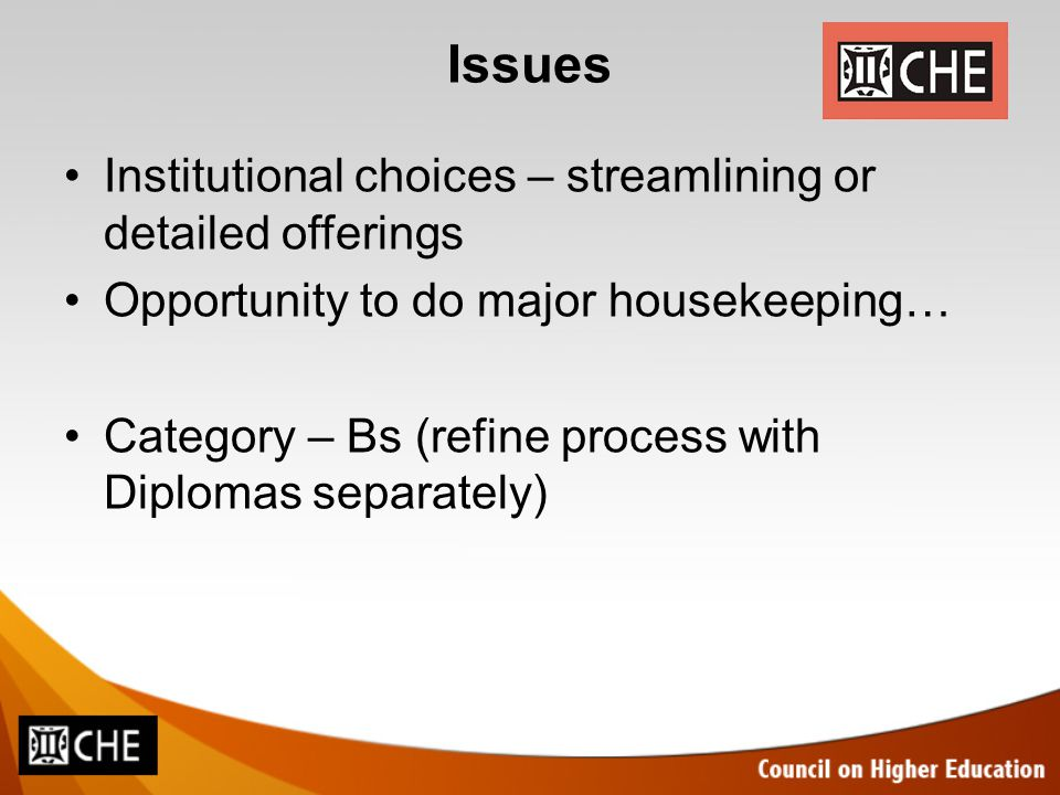 Issues Institutional choices – streamlining or detailed offerings Opportunity to do major housekeeping… Category – Bs (refine process with Diplomas se