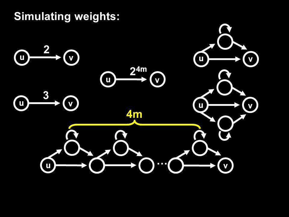 Simulating weights: 2 u v 3 u v 2 4m u v u v u v … u v 4m