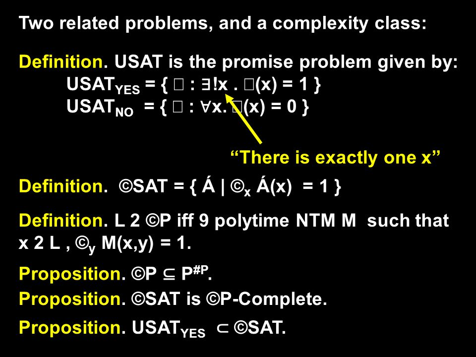 Two related problems, and a complexity class: Definition.
