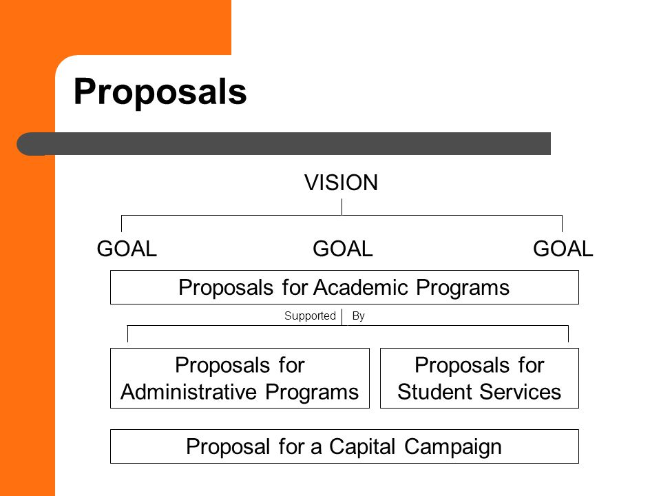 Proposals VISION GOAL Proposals for Academic Programs Proposals for Administrative Programs Proposals for Student Services Proposal for a Capital Campaign Supported By