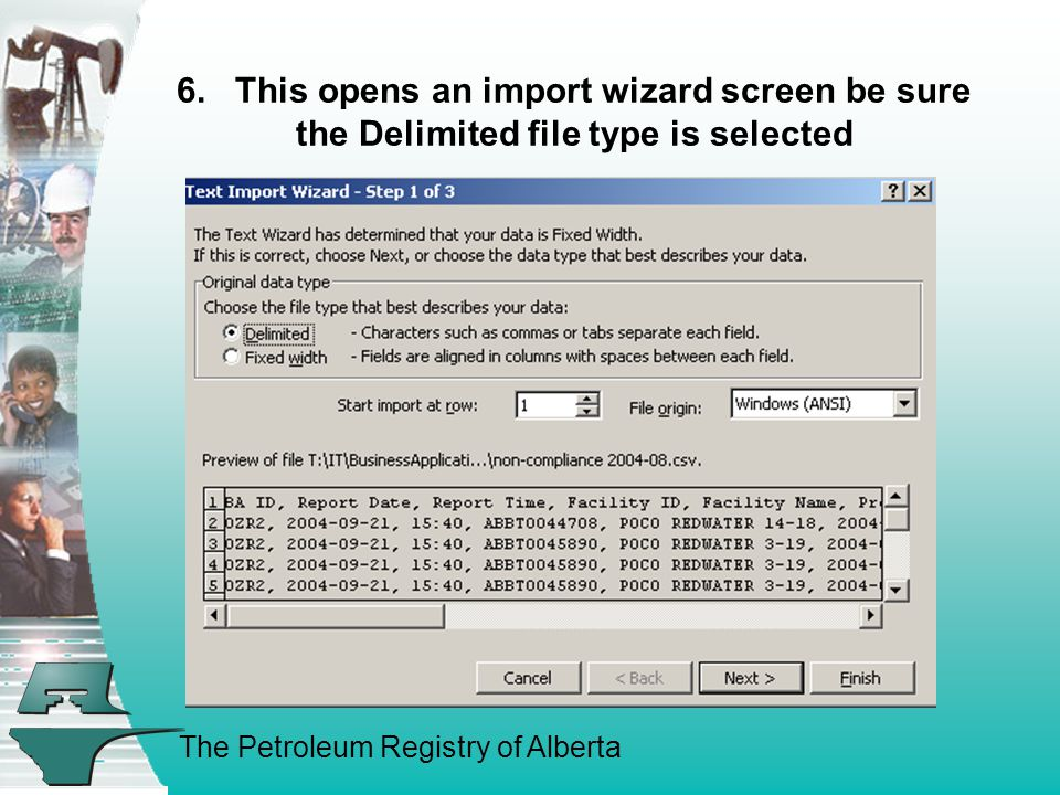 The Petroleum Registry of Alberta 6. This opens an import wizard screen be sure the Delimited file type is selected