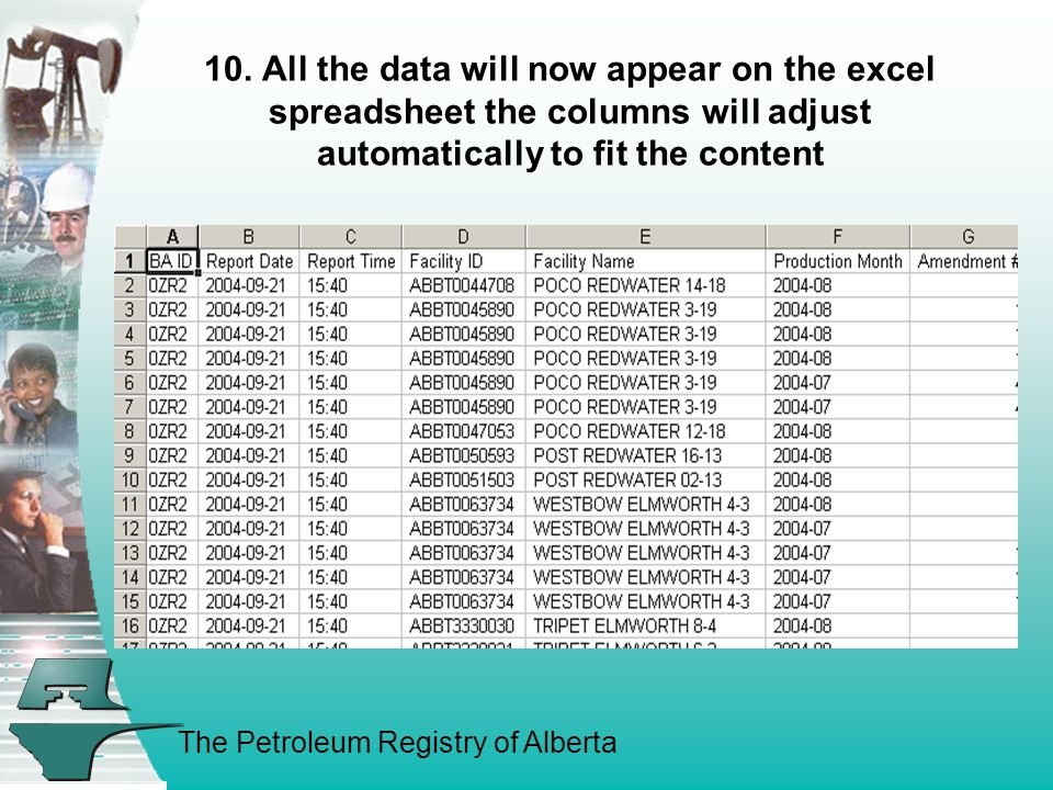The Petroleum Registry of Alberta 10. All the data will now appear on the excel spreadsheet the columns will adjust automatically to fit the content