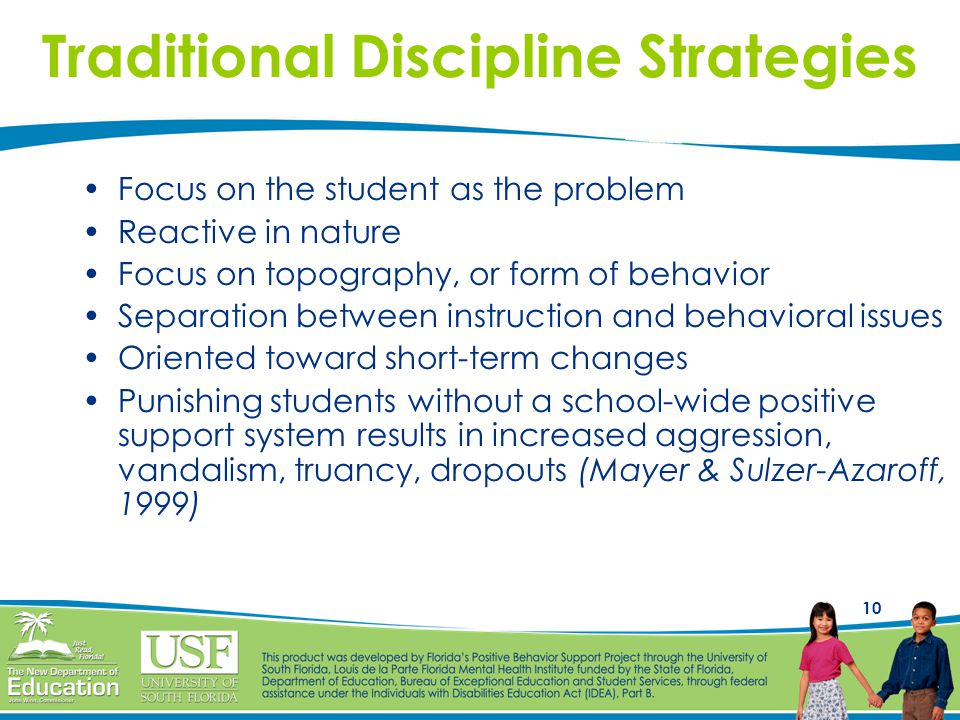 10 Focus on the student as the problem Reactive in nature Focus on topography, or form of behavior Separation between instruction and behavioral issues Oriented toward short-term changes Punishing students without a school-wide positive support system results in increased aggression, vandalism, truancy, dropouts (Mayer & Sulzer-Azaroff, 1999) Traditional Discipline Strategies