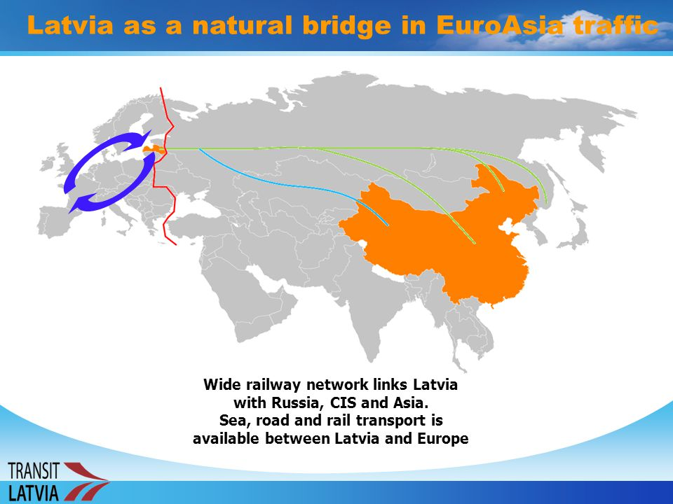 Latvia as a natural bridge in EuroAsia traffic Wide railway network links Latvia with Russia, CIS and Asia. Sea, road and rail transport is available