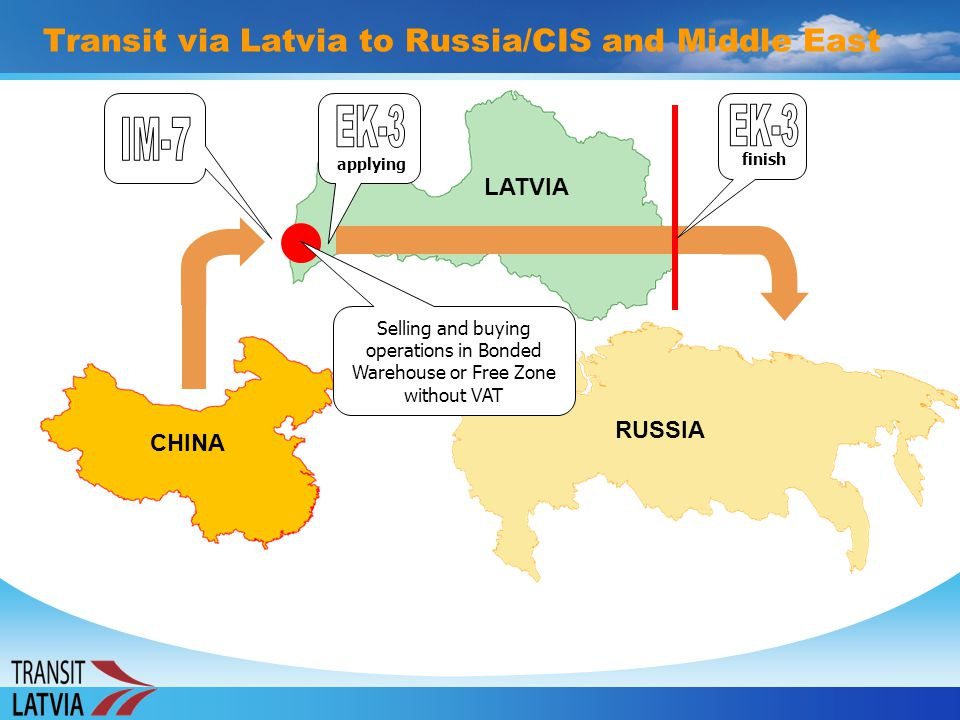 Transit via Latvia to Russia/CIS and Middle East CHINA LATVIA RUSSIA applying Selling and buying operations in Bonded Warehouse or Free Zone without V