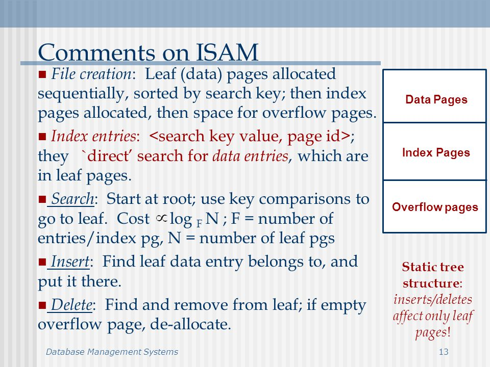 Database Management Systems13 Comments on ISAM File creation : Leaf (data) pages allocated sequentially, sorted by search key; then index pages allocated, then space for overflow pages.