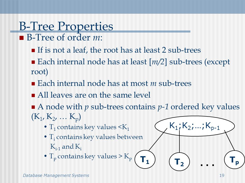 Database Management Systems19 B-Tree Properties B-Tree of order m : If is not a leaf, the root has at least 2 sub-trees Each internal node has at least [ m/2 ] sub-trees (except root) Each internal node has at most m sub-trees All leaves are on the same level A node with p sub-trees contains p-1 ordered key values (K 1, K 2, … K p ) T 1 contains key values <K 1 T i contains key values between K i-1 and K i T p contains key values > K p K 1 ;K 2 ;…;K p-1 T1T1 T2T2 TpTp...