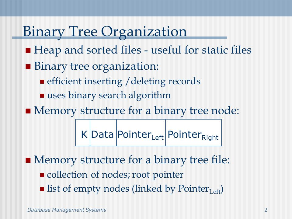 Database Management Systems3 Binary Tree Organization (cont.) Root – pointer to root Free – pointer to empty nodes list head Conceptual tree: L Data L 2 4D Data D 8 7 -6NULL L DQ B BFS F Data F NULL NULLB Data B NULL NULL NULL NULLQ Data Q NULL 5S Data S NULL NULL -9NULL 123456789123456789 Root = 1 Free = 3