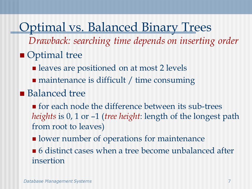 Database Management Systems8 Balanced Trees Maintenance A BB A 1 (h) A 2 (h) A 3 (h) 0 A BB A 1 (h) A 2 (h) A 3 * (h+1) -2 1 A BB A 1 (h) A 2 (h) A 3 * (h+1) 0 0 A BB A 1 (h) A 2 (h) A 3 * (h+1) -2 1 B A A 3 (h) A 1 (h) A 2 (h) 1 0 B A A 3 (h) A 1 * (h+1) A 2 (h) 0 0 (1) (2)
