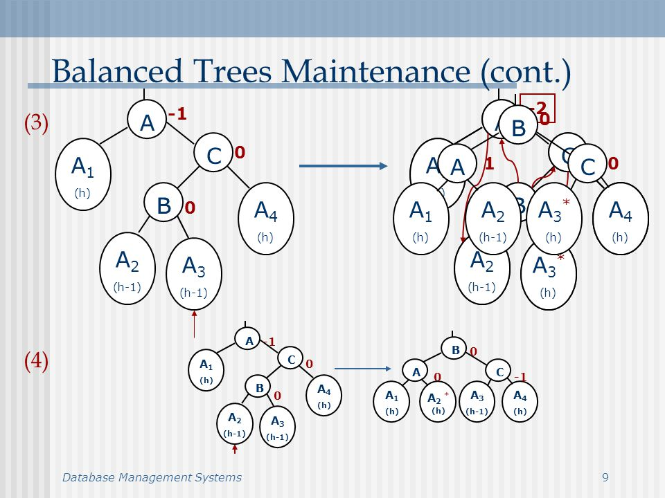 Database Management Systems10 Balanced Trees Maintenance (cont.) A BB C A 1 (h) A 2 (h-1) A 3 (h-1) A 4 (h) 0 0 1 0 A BB C A 1 (h) A 2 * (h) A 3 (h-1) A 4 (h) 0 A BB C A 1 (h) A 2 (h-1) A 3 (h-1) A 4 (h) 0 0 1 1 A BB C A 1 (h) A 2 (h-1) A 3 * (h) A 4 (h) 0 0 (6) (5)