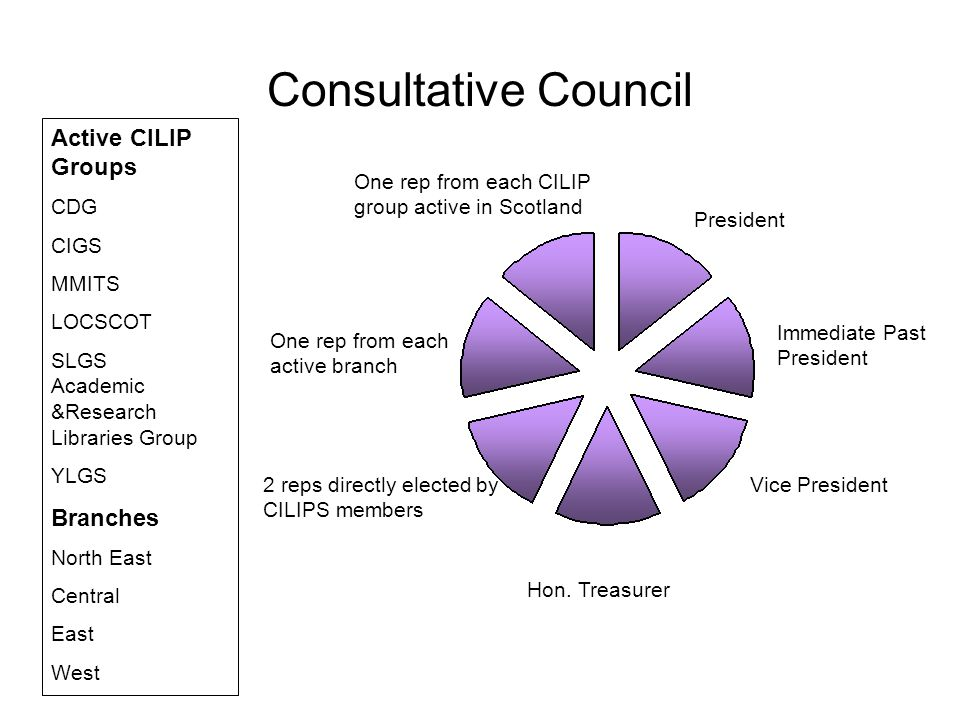Consultative Council President Immediate Past President Vice President Hon. Treasurer One rep from each active branch One rep from each CILIP group ac