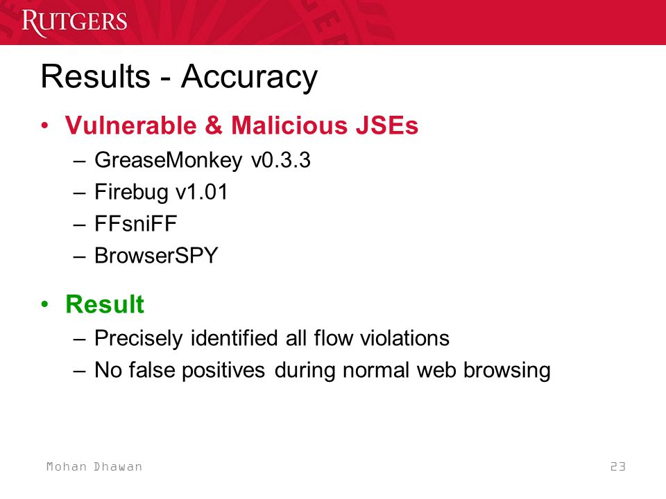 Mohan Dhawan 23 Results - Accuracy Vulnerable & Malicious JSEs –GreaseMonkey v0.3.3 –Firebug v1.01 –FFsniFF –BrowserSPY Result –Precisely identified all flow violations –No false positives during normal web browsing