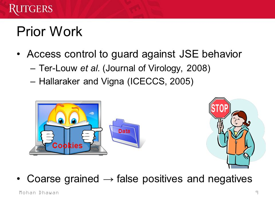 Mohan Dhawan 20 Evaluation - Goals Effectiveness –Classify behavior of benign JSEs –Determine information flow violations in malicious JSEs Performance –Impact on JavaScript performance –Compare overhead due to per-bytecode provenance check for overlay code