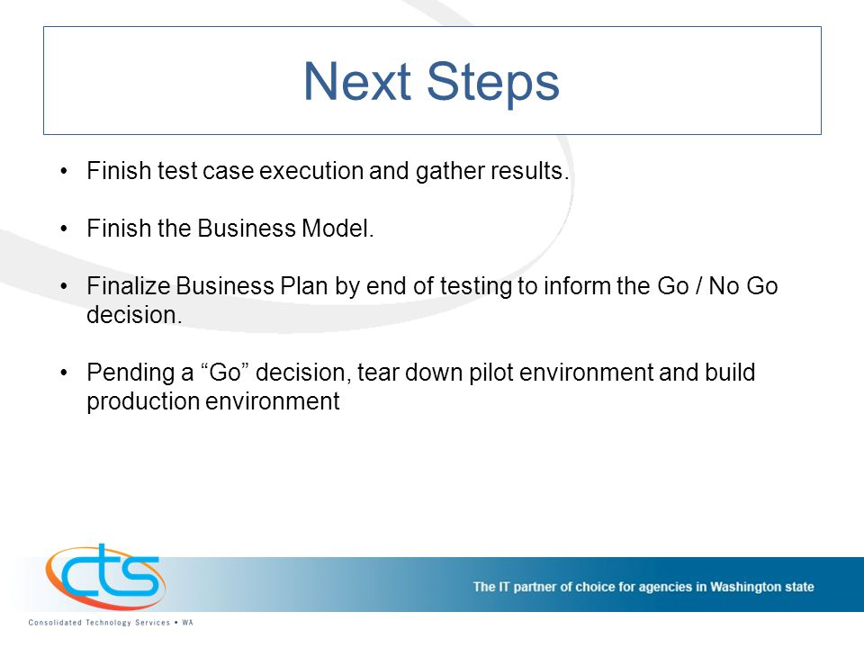 Next Steps Finish test case execution and gather results.